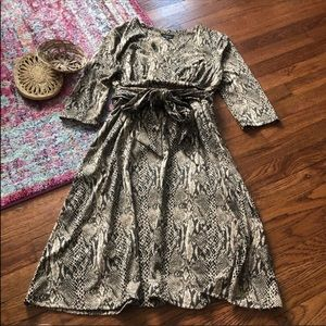 Le chateau Brown snake print tie front wrap dress